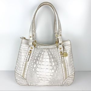 Brahmin White Vintage Leather Purse Shoulder Bag